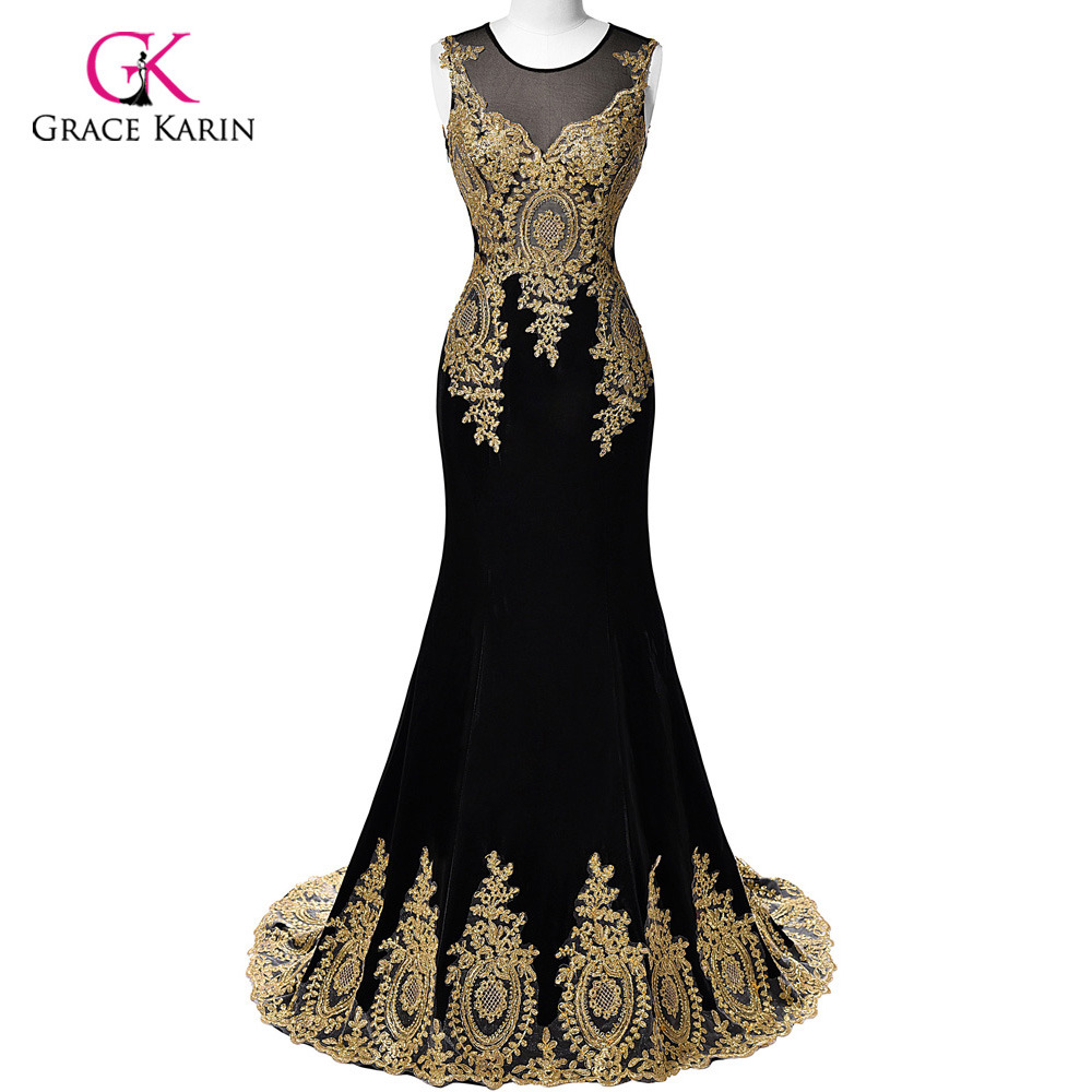 Black dress gold lace - Luxury Mermaid Prom Dresses 2017 Grace Karin Black Blue Red Gold Appliques Scoop Long Prom Dresses