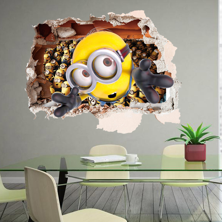 Minion Wall Decor minions through wall stickers kids room decorations diy home
