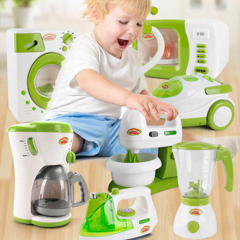 Simulation Small Appliances Multi-function Vacuum Cleaner Coffee Bread Machine Children Imitation Toys For Baby Gifts