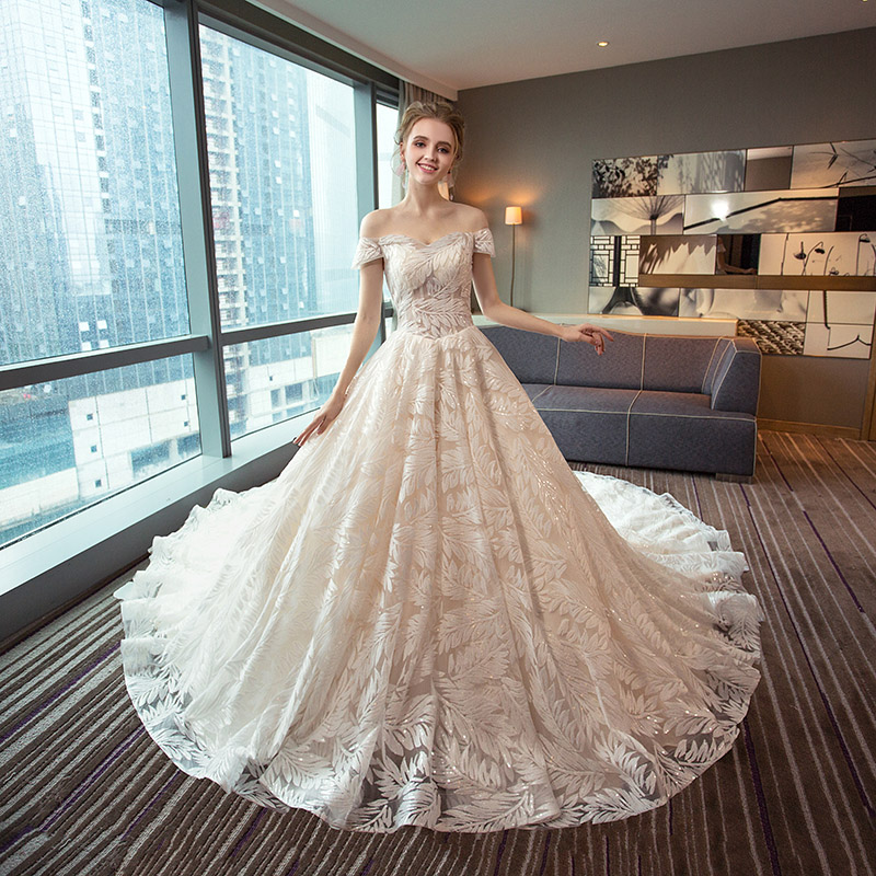 Lace Train Princess 2018 rochie de mireasa rochie de mireasa plus - Rochii de mireasa - Fotografie 2