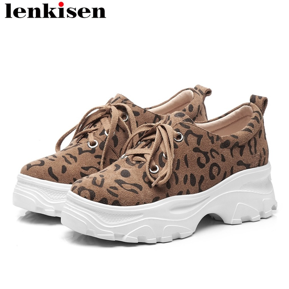 Lenkisen genuine leather thick bottom flat platform classic leopard lace up sneaker round toe British style vulcanized shoes L18