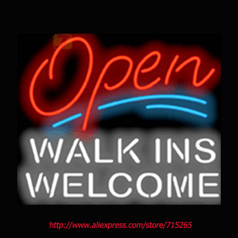 Open with Walk Ins Welcome Neon Signs Signage Board Neon Bulbs Real GlassTube Handcrafted Recreation Beer Bar Pub Windows 31x24