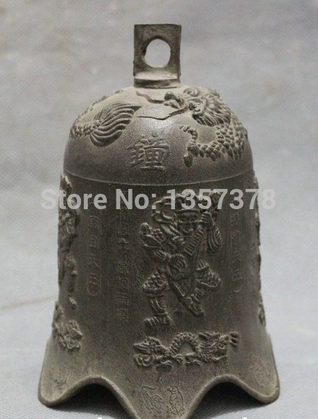 Shitou 00621 Chinese Collect Bronze 4 Heavenly Kings Fly Dragon Statue Buddhist Temple Bell Discount 30% (C0324)