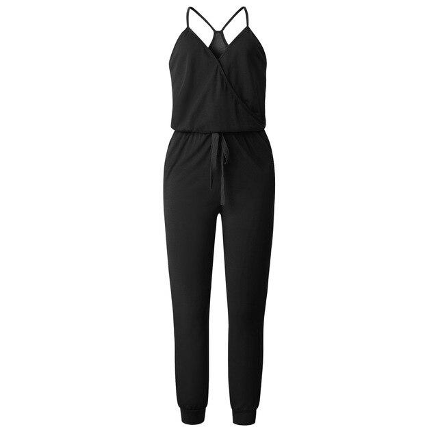 Wontive negro V cuello Sexy trajes de las mujeres con cinturón con cuerpo de mujer pantalones de Color sólido mono overoles primavera traje de verano