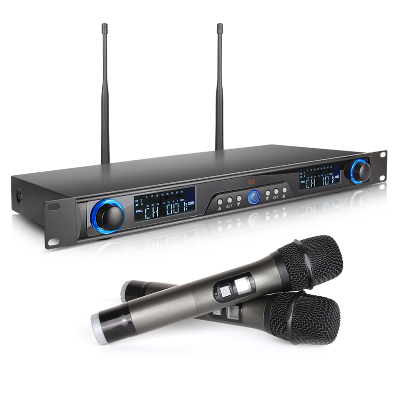 Whole Metal Adjustable Frequency XTUGA RW220 2 Channel Cordless MIC System UHF Wireless Karaoke Microphone System