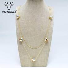 Viennis geometryczny sweter łańcuszek złoty/różowe koraliki w kolorze złotym długi naszyjnik dla kobiet modny styl kobiece Party biżuteria