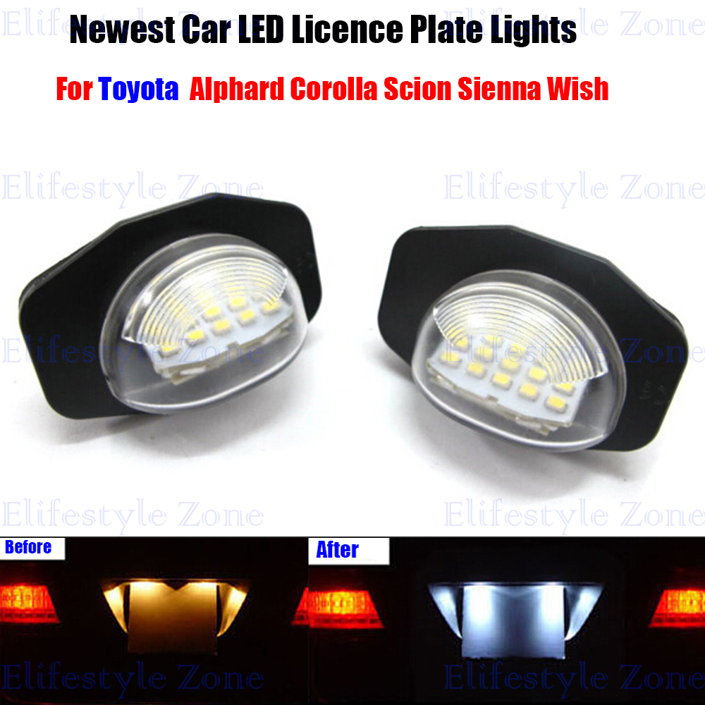 2 x LED Number License Plate Lamps OBC Error Free 18 LED For Toyota Corolla Alphard Auris Wish Sienna Scion XB XD 2x e marked obc error free 24 led white license number plate light lamp for bmw e81 e82 e90 e91 e92 e93 e60 e61 e39 x1 e84
