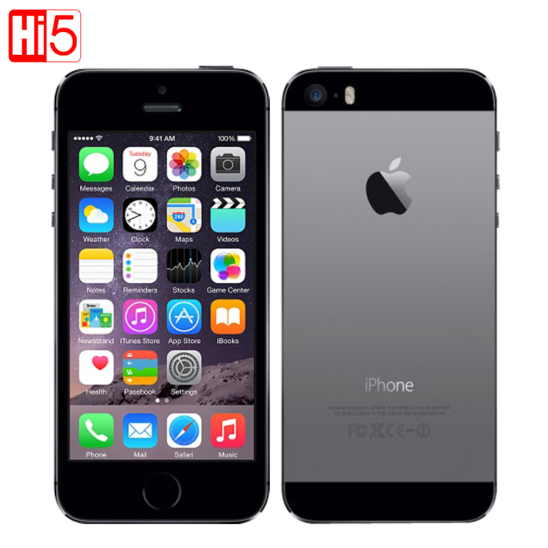 Apple iPhone 5S A1457 mobiele telefoons Ontgrendeld iOS touch ID 4.0 16G / 32G ROM Dual core WiFi GPS 8MP Camera 3G LTE Vingerafdruk