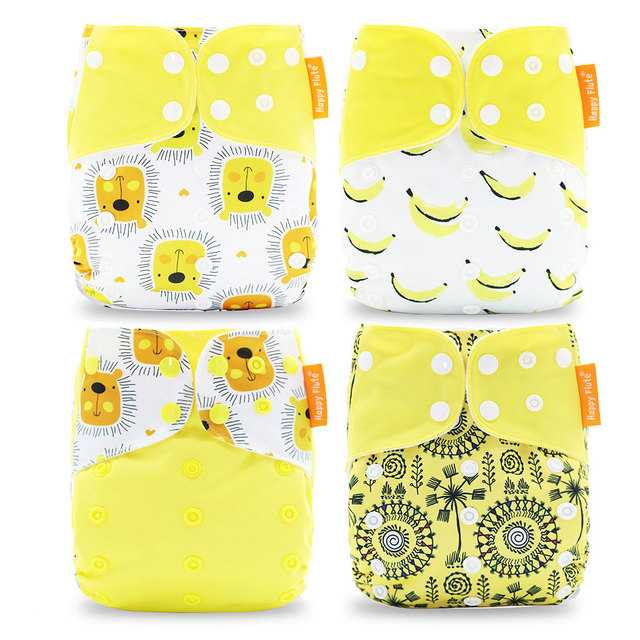 Happyflute 2017 New Fashion Style Baby Nappy 4pcs/set Diaper Cover waterproof & Reusable cloth diaper