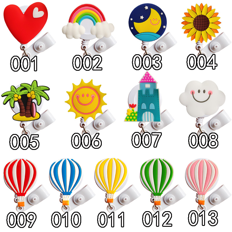 20Pcs Lovely Heart White Clouds Design Nurse Id Card Holder Retractable Badge Holder Retractable For Work New Nurse Badge Reel