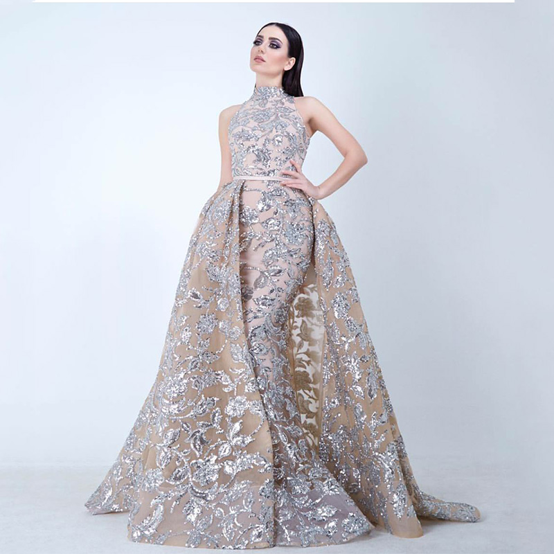 HUIFANY Real Photo Applique Sequined Haute Couture Mermaid Evening ...