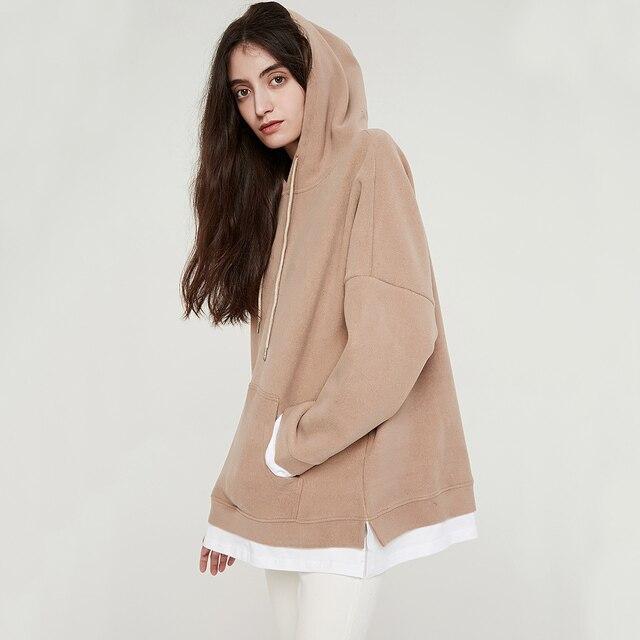 Wixra Women Casual Sweatshirts Warm Velvet Long Sleeve Oversize Hoodies Tops 2019 Autumn Winter Pullover Tops 2
