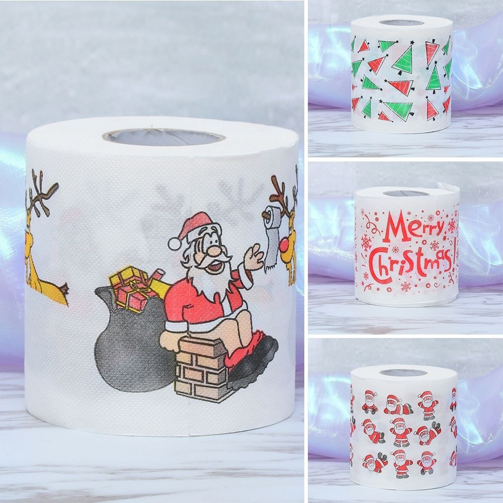 30^1Roll Toilet Paper Santa Claus/Deer Merry <font><b>Christmas</b></font> Supplies Printed Toilet Paper Home Bath Living Room Tissue Roll Xmas image