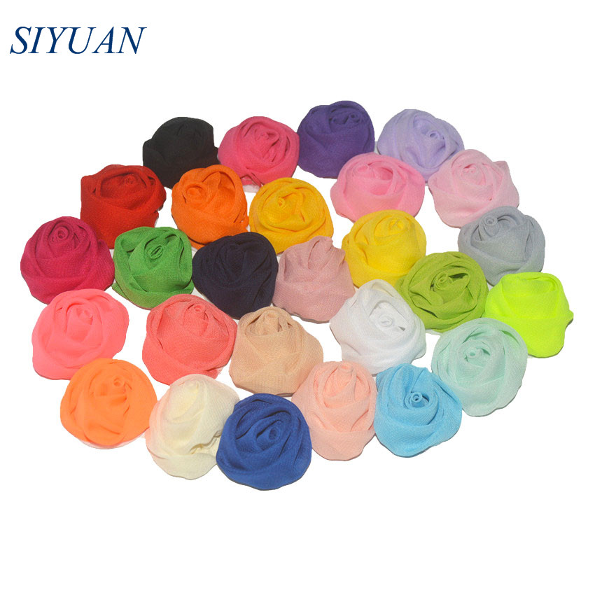 40pcs/lot Eco-friendly 1.5 inch Lovely Rolled Fabric Chiffon Flower Wedding Decor Headwear Brooch Apparel Accessories TH272