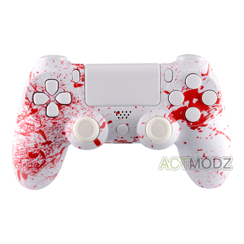 Blood Patterned Full Set Shell Case Buttons Repair for PS4 Controller  JDM-010 JDM-020