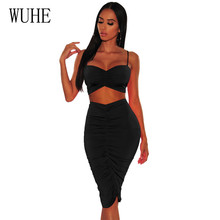 WUHE Summer Sleeveless Two Pieces Sets Pleated Dress Sexy Backless Party Night Club Vestidos Lady Elegant Hollow Out Wear
