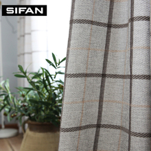 Plaid Jacquard Chenille Faux Linen Curtain for Living Room Curtains for Bedroom Window Curtains Custom Made