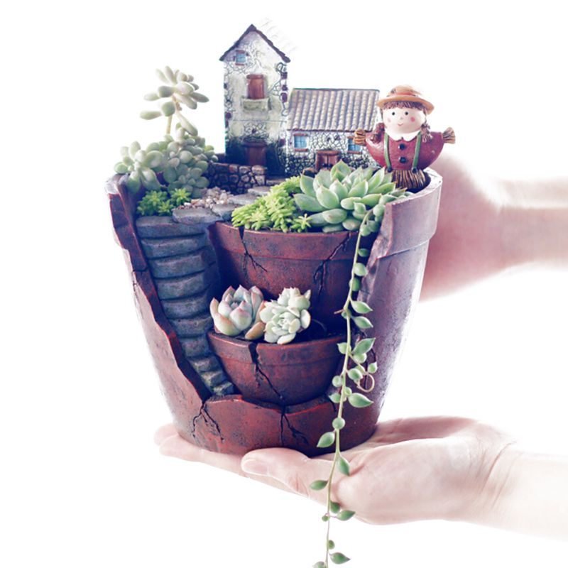 1pcs Garden Fancy Resin Succulent Planter Flower Bonsai Pot Garden Herb Trough Box Basket New