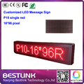 programable led message sign p10 led display module for 16*96 pixel single red led moving sign text running led screen billboard
