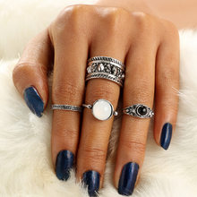 New Bohemia Vintage Geometry Jewelry Unique Carving Tibetan Silver Color Ring Set for Woman Punk Boho Ring Sets(China)