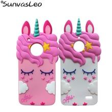 For Motorola Moto E4 /  Plus 3D Silicon Pretty Unicorn Cartoon Soft Rubber Mobile Phone Cover Case Skin Cases Shell