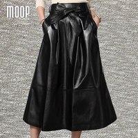 Черные юбки из натуральной кожи женские трапециевидные Расклешенная юбка faldas jupe Saia etek heavyweight grained юбка из кожи ягненка с поясом LT281