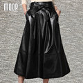 Black genuine leather skirts women A-Line flare skirt faldas jupe saia etek bow sashes decor lambskin skirt Free shipping LT281