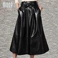 Cuero genuino negro faldas de las mujeres una línea de falda flare faldas jupe saia etek bow sashes decoración envío libre de la falda de piel de cordero lt281