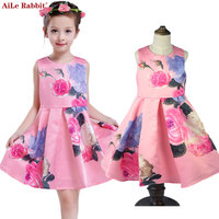 AiLe Rabbit Girl Dresses 2017 Brand Princess Dress Girl Designer Flower Kids Dresses For Girls Clothes