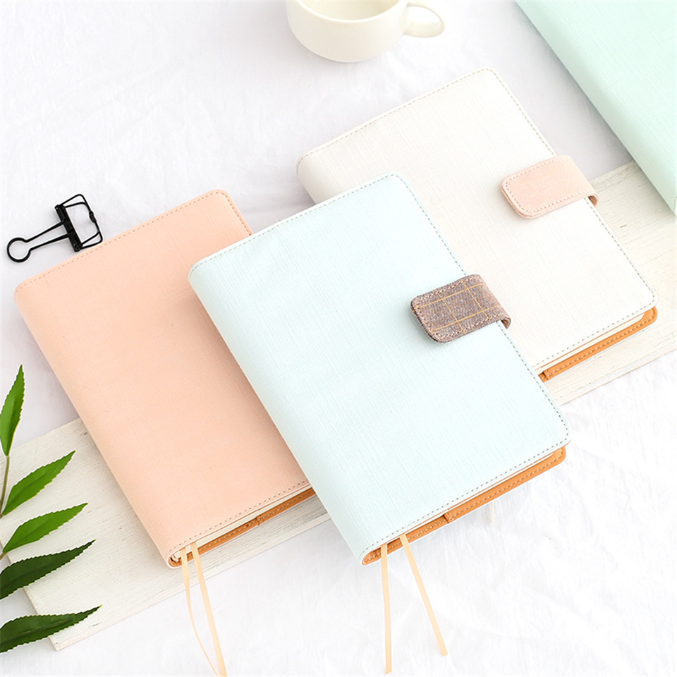 A5 Simple Dokibook Fabric Diary Pink Notebook Business Planner Agenda Diary Book School Office Supplies high quality pu cover a5 notebook journal buckle loose leaf planner diary business buckle notebook business office school gift