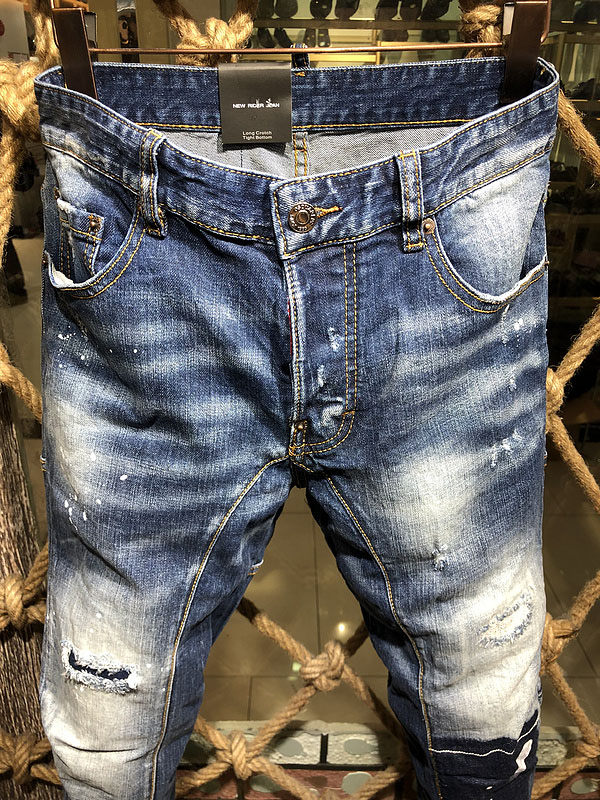 famous Brand slim fit summer fashion patchwork denim ripped zipper biker skinny   jeans   for man beggar Knee Hole pencil trousers