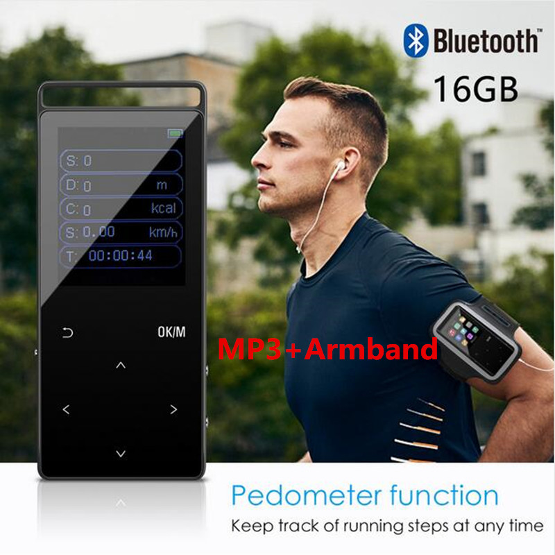 16GB MP3 Player Bluetooth HiFi Digital Music Player Mini Portable Audio Player FM Radio Pedometer+Free Sport MP3 Armband
