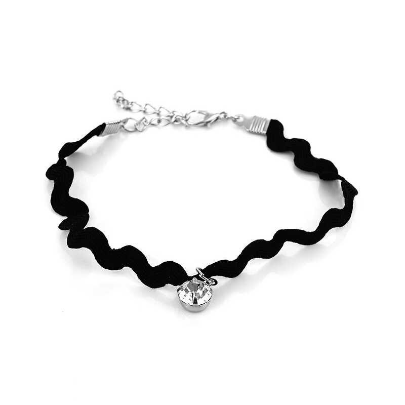 H: HYDE, 2017 Nuevo de moda simple de la onda de cordón de terciopelo de cristal encantador encaje negro tobillo pulsera de las mujeres joyería de pie para niña
