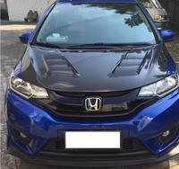 JIOYNG Carbon Fiber Front Bumper Engine Hood Vent Cover For HONDA FIT / JAZZ GK5 2014 2015 2016 2017 2018