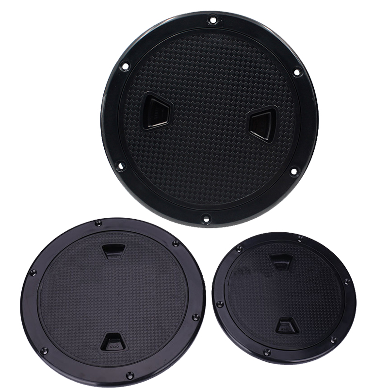 4 Inch/6 Inch/8 Inch Anti-slip Hand Hole Plastic Round Marine <font><b>Boat</b></font> RV <font><b>Hatch</b></font> Cover White/<font><b>Black</b></font> Screw Out Deck Inspection Plate image
