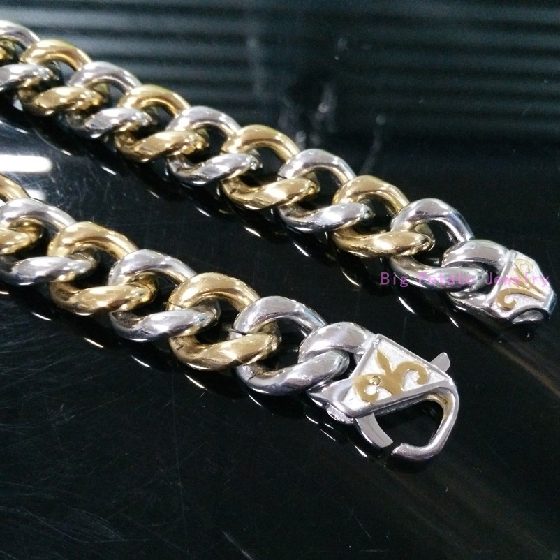 ộ ộ 15mm Exquisite Technology Silver Gold Cuban Curb Link Chain