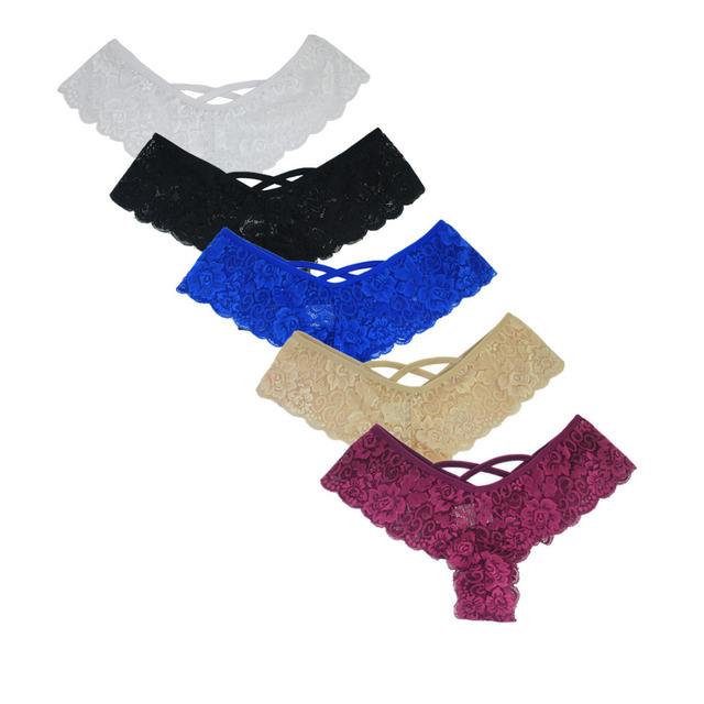 fb3afd539 New Sexy Lace Thong Panties Good Elastic Underwear Women Mini G-string G  String V Back Strappy Brazilian calcinha 3XL 2XL XL-S