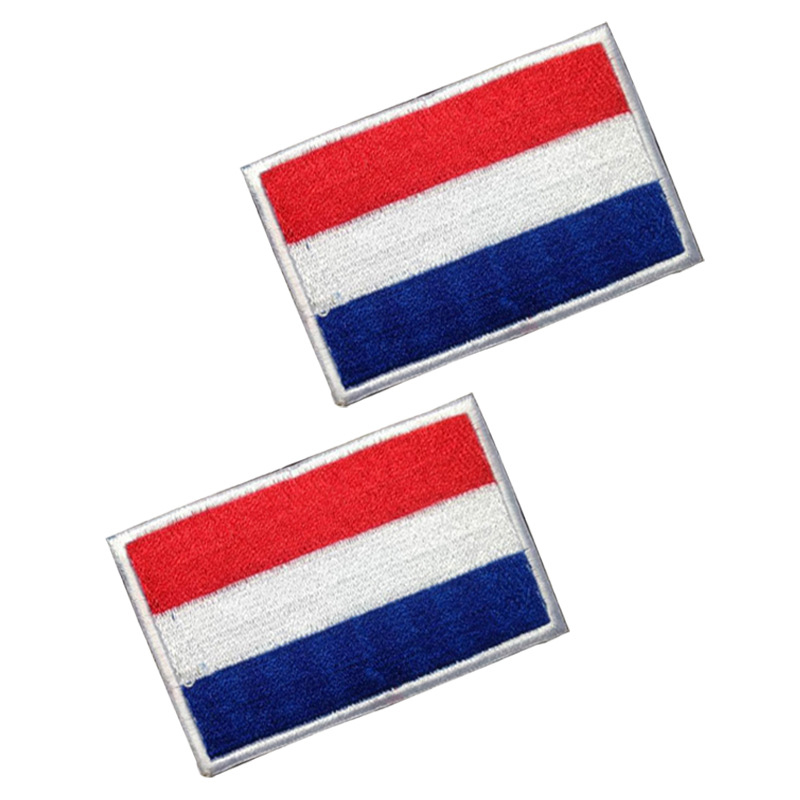 Netherlands Flag Patches 3D Embroidered Appliques Holland Dutch Badges Stickers for Clothes backpack hat with Hook & Loop