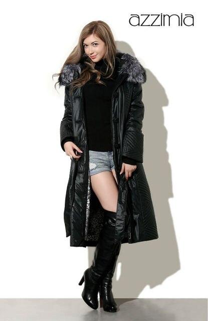 best authentic 53590 98a2e US $238.0 |AZZIMIA frauen Winter Warme Mäntel Schwarze lange Dünne Parka  Thinsulate Mode Kleidung Großen Pelzkragen Plus Größe 4XL 15W 15 in ...