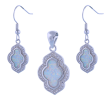 hot deal buy garilina 925 sterling silver white opal pendant earrings party charms fashion jewelry sets for women s280