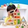 Montessori del cabrito Suave Del Arco Iris de Colores De Madera Bloques de Construcción de Juguete 24 UNIDS 6 Forma 4 Colores Translúcidos Alta calidad gife