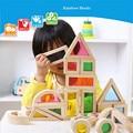 Rainbow Colorido Blocos de Construção de Brinquedos De Madeira Montessori miúdo Macio Set 24 PCS 6 Forma 4 Cores Translúcidas de Alta qualidade gife