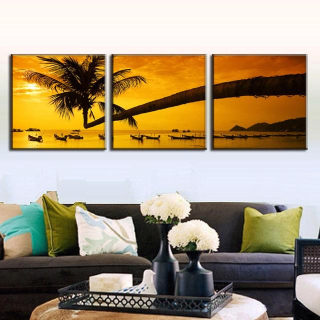Remise Encadrée Peinture 3 Pcs/ensemble Paysage D\'or Palm Tree ...