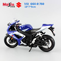 Masito 1:12 Children's Motor GSX- R750 metal diecast models motor jouets mini race car moto bike collectible display kids toys
