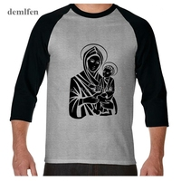 New Fashion Mens 3/4 Sleeve T Shirt Virgin Mary Jesus Christ God T-shirt Men O-neck Tops Cotton 100% Print Casual T-shirt