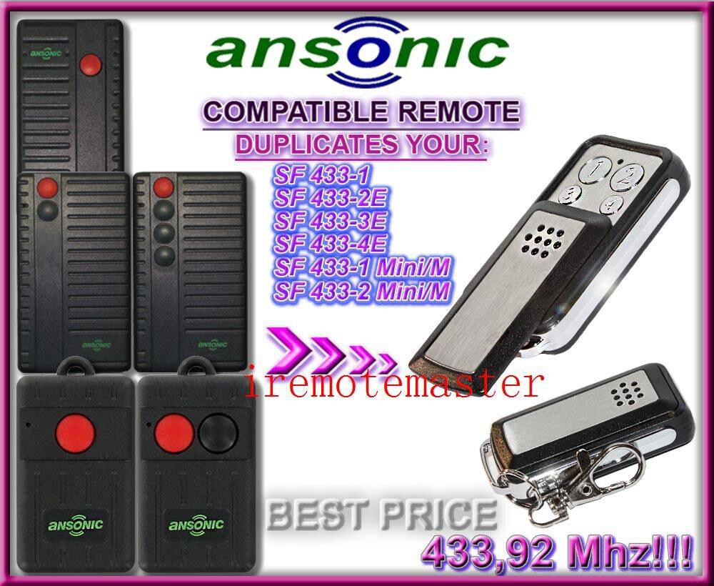 Garage Door opener/Gate Remote Control Replacement/Ansonic SF,1Mini/M,2Mini/M replacement Remote key fodGarage Door opener/Gate Remote Control Replacement/Ansonic SF,1Mini/M,2Mini/M replacement Remote key fod