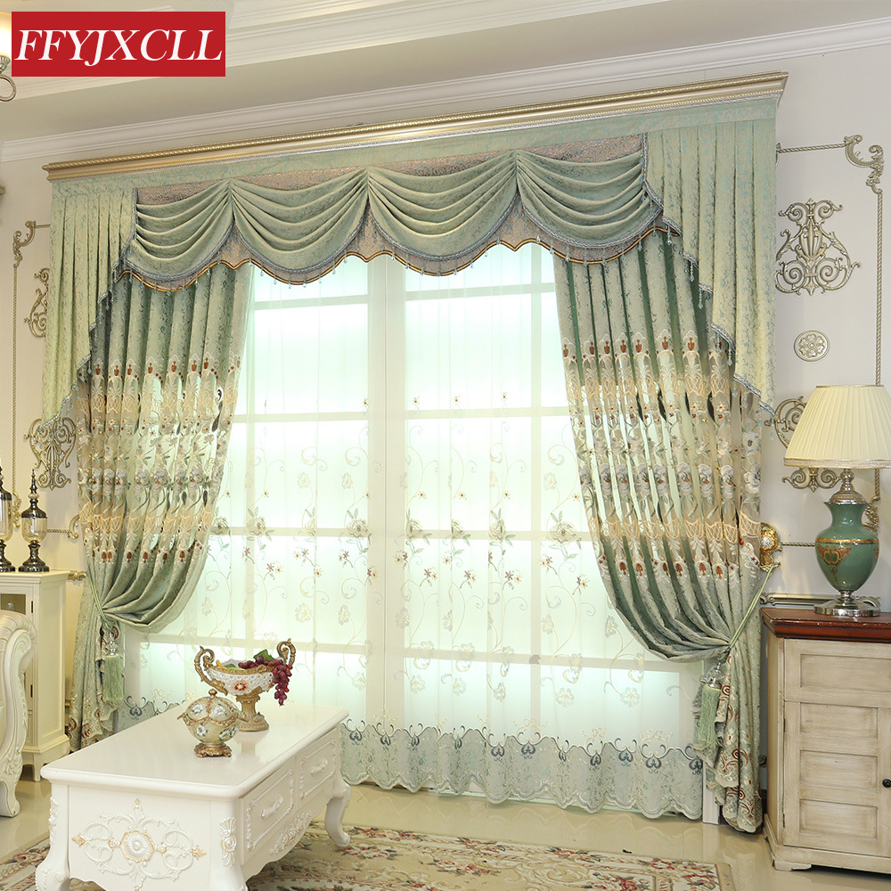Chenille Jacquard European Embroidered Curtains Tulle Window For Living Room Bedroom Curtains Drapes Flower Pattern