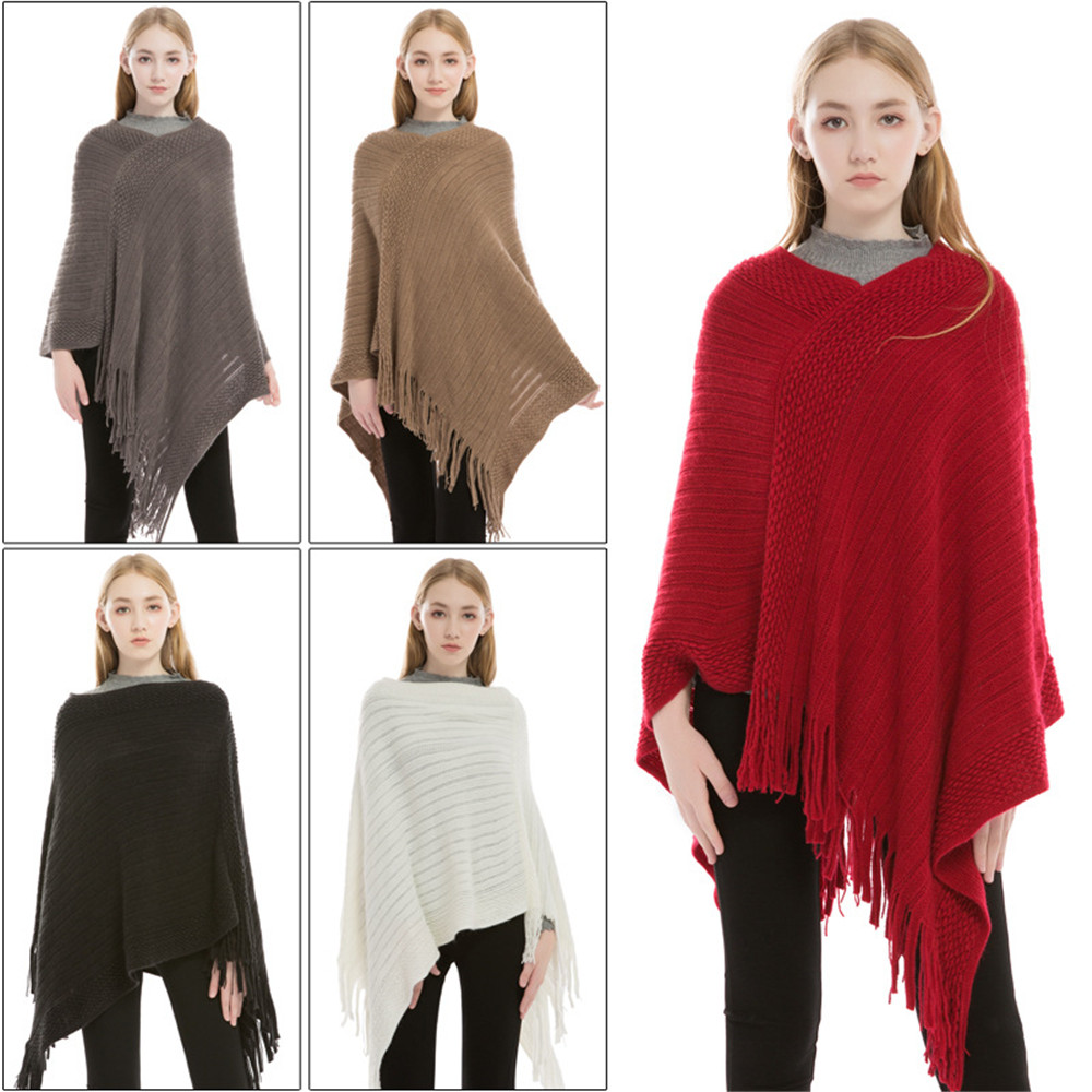 The New Sexy winter knitted turtleneck cape shawl female fashion stripes European and American style ladies scarf cloak pullover