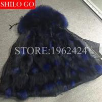 2017 New Women Winter black & Army green Coats Thick Parkas Plus Size Real hyun dark blue fox Raccoon Collar Hooded Outwear& XL
