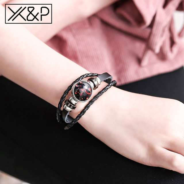 X&P Fashion Vintage 12 Constellation Starry Leather Charm Bracelets for Women Men Party Black Rope Chain Bracelet Jewelry Gift